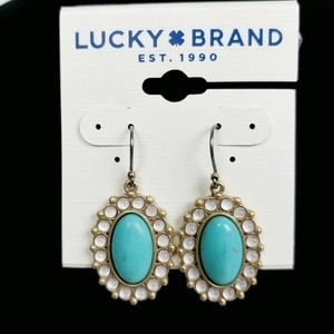 Lucky Brand semi precious turquoise drop earrings